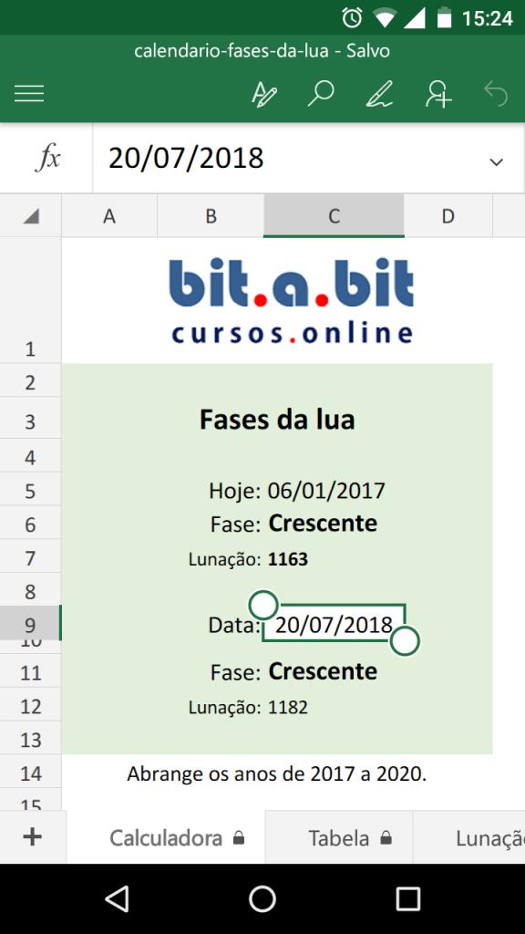 calculadora fases da lua em Excel