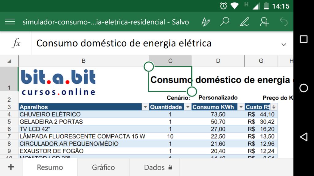 Simulador de consumo de energia elétrica no celular