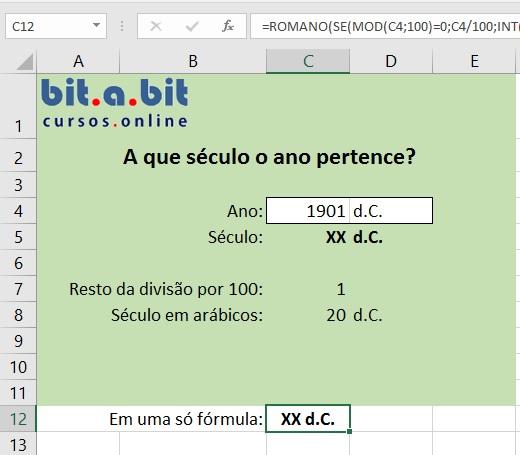 Cálculo com séculos no Excel