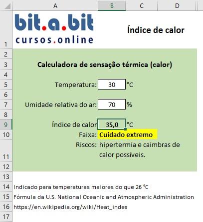 Sensação térmica de calor